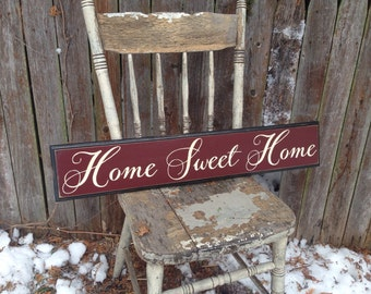 Home Sweet Home Wooden Sign with Decorative Routed Edge 5.5x30