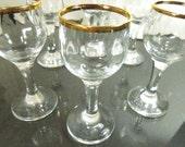 Gold Rim Liquors, Cordial Glasses, Gold Rim Crystal, Set of 6, 24K Cordials, Stemware Liquors, Vintage Stemware, Barware