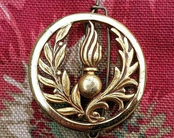 Vintage French Gilt  Military Insignia Badge-Uniform,Cap Badge,Laurel Leaf,Flaming Torch