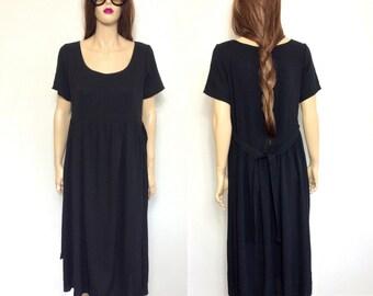 Vintage Minimalist Dress 90's Dress Grunge Dress Rayon Dress Oversized Slouchy Hippie Dress 80's Medium Boho Dress Black Dress Small Medium