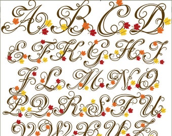 Autumn Alphabet Clip Art -Personal and Limited Commercial Use- Falling Leaves Letters Clipart