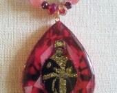 Royal Rastafari Empress Menen Pendant Necklace wiht Rose Quartz