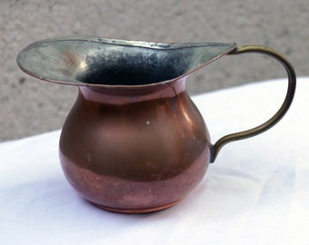Vintage Copper-plated Creamer and Sugar Dish