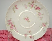 Vintage Haviland Limoges France Pink Rose Pattern Saucer Dessert Plate Vintage Wedding
