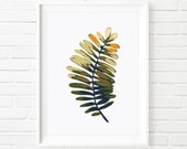 Wide Leafed Fern Botanical Print, Nature Wall Art, Green Fern Plate, Abstract Art, Tropical Design, Digital Download Printable