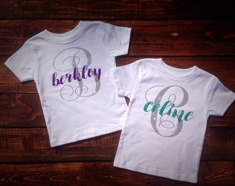 Monogram Girls Shirt~TShirt for Girls, Childrens monogram shirt, Girls personalized Shirt, glitter monogram shirt, personalized name shirt