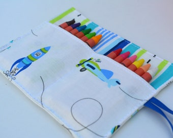 Vehicles crayon roll, up to 12 crayons, 6''x4.5''. Cars, rockets, helicopters. Boys gift, blue, green, white.  Add crayons option.