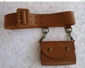 ON SALE vintage. BELT. cognac. Pouch. d como. Leather. 1980s.