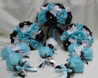 Wedding Silk Flower Bridal Bouquets 18 Pieces package Black White Pool Aqua Blue Roses Bridesmaids Boutonnieres Corsages FREE SHIPPING