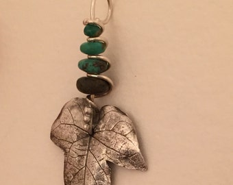 Fine Silver Leaf with Turquoise