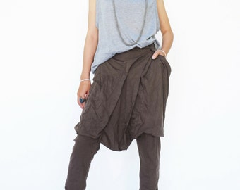 NO.181 Brown Cotton Jersey Fashionable Pleated Front Pants, Aladdin Trousers, Unisex Pants