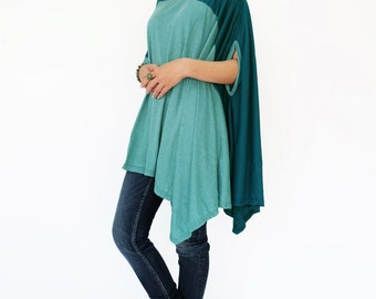 NO.197 Teal Cotton-Blend Jersey Color Block Top, Asymmetrical T-Shirt, Women's Top
