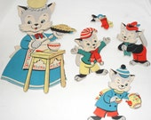 Three Little Kittens Vintage Pin-Ups Wall Hanging Nursery Decor Mother Goose Dolly Toy Co 1950s Cute!