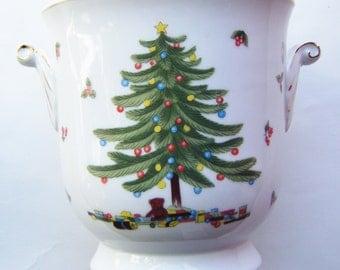 Vintage Porcelain Gold Rimmed Christmas Ice Bucket Double Handled
