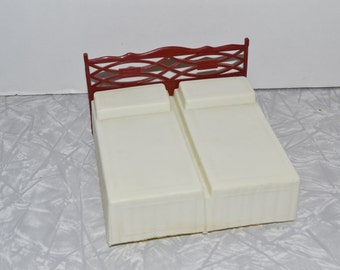 MPC Dollhouse Double Bed ~ Dollhouse Furniture ~ Plastic Furniture ~ Epsteam