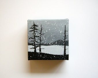 Winter On The Lake   Original Acrylic Painting   4x4 Inches   By Janelle Anakotta