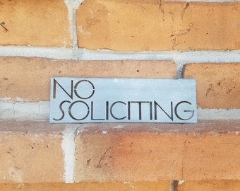 Modern No Soliciting Sign,Metal sign,No Soliciting, Modern,Modern Decor,Metal Sign,Outdoor sign,MCM, Mid Century,Modern Decor,House Signs