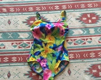 Vintage Floral Print One Piece Swimsuit/Bodysuit