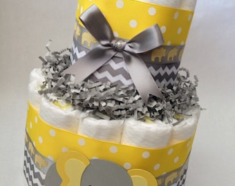 Yellow and Gray Diaper Cake, Baby Shower Centerpiece, New Baby Gift, Yellow Grey Elephant Baby Shower, Neutral Diaper Cake, Neutral Shower
