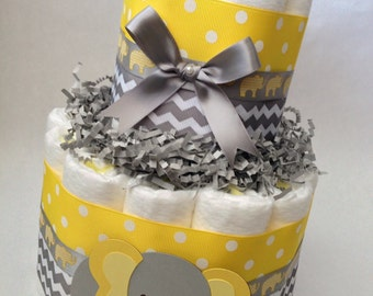 Yellow and Gray Diaper Cake, Baby Shower Centerpiece, Baby Shower Decoration, Yellow Grey Elephant Baby Shower, Neutral Diaper Cake