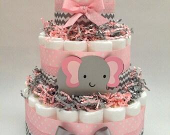 Chevron Elephant Diaper Cake   Diaper Cake   Diaper Cakes   Pink and Gray Diaper Cake/Unique Diaper Cake/Baby Shower Centerpiece