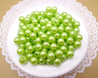 SALE--100pc 8mm Faux Pearl Beads,Aplle Green Plastic Beads