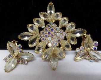 JULIANA Vintage Yellow Aurora Borealis Crystal Brooch Set