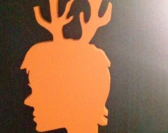 Antler Head Faun Deer Girl Cameo Profile Wood Wall Art Portrait