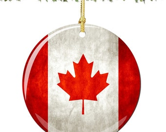 Canada Flag Porcelain Christmas Ornament Decoration