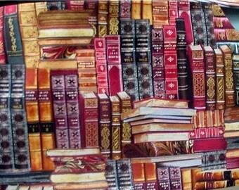 ON SALE-15% OFF- Handmade Simona G. Infinity Scarf Woman's cotton Library Books print Burgundy backing