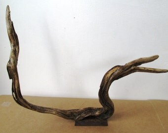 Reclaimed Metal and Curved Wood Sculpture, Rustic Home Decor