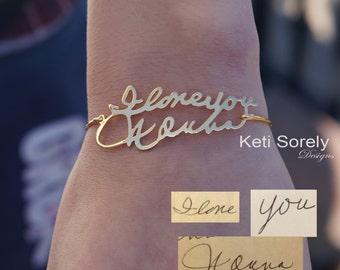 Personalized Bangle Bracelet, Handwritten Signature Bangle - Handwritten Message Bracelet - in Silver, Yellow or Rose Gold, Gold Filled