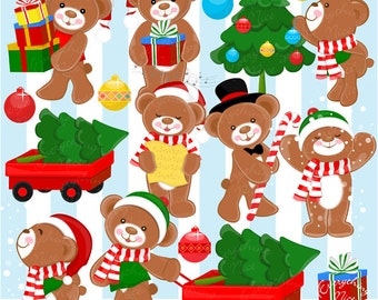 Christmas Teddy Bear Clipart Set