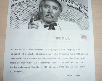Original NBC Photo Howard Duff Flamingo Road Pictures Photographs Television Press Information Sheet Synopsis Entertainment Memorabilia TV