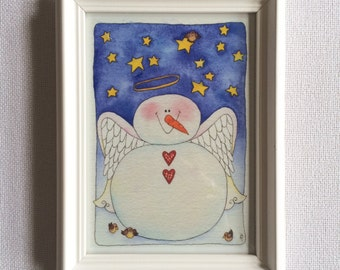 Snowman Angel Framed 5x7 art print