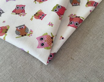 Owl cotton fabric 19.68 x 55.11 inch