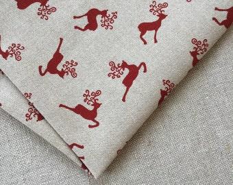 Rain deer cotton fabric 19.68 x 55.11 inch