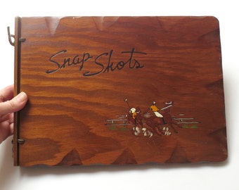 RETRO COOL '30s/'40s Wood Snap Shots/Photo Album with Painted Polo Players and Original Pages