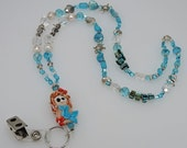 TURQUOISE MERMAID LANYARD Whimsical Lampwork Glass for Teachers, Nurses, Office Professionals, Gift