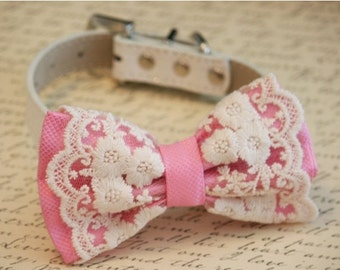 Pink Lace Dog Bow Tie, Pink Lovers, Vintage Wedding, Pet wedding accessory,Wedding accessory, boho wedding, Victorian wedding