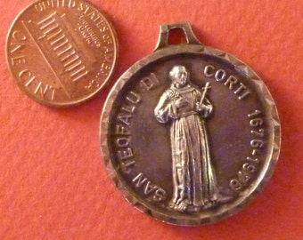 Vintage  French Medal St John the Baptist  1960 signed Jean Balme / Philippe  Chambault Pendant Old  Charm Jewelry JV1:2