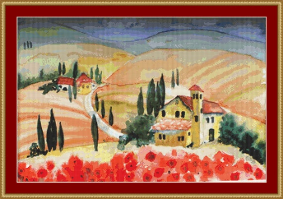 Summer In Tuscany Cross Stitch Pattern /Digital PDF Files /Instant downloadable
