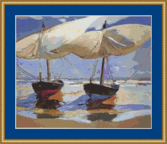 Beached Boats Valencia Cross Stitch Pattern /Digital PDF Files /Instant downloadable
