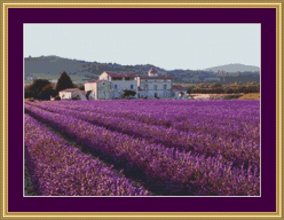 Lavender Field Cross Stitch Pattern /Digital PDF Files /Instant downloadable