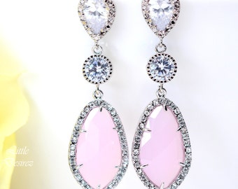 Pastel Pink Earrings Light Pink Earrings Ice Pink Earrings Soft Pink Earrings Cubic Zirconia Wedding Jewelry Bridesmaid Earrings IP40PC