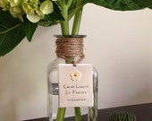 """Graduation, anniversary or get well gift, Bud vase with hand-stamped """"bloom"""" tag, riveted flower, glass bottle, nickel silver & brass"""