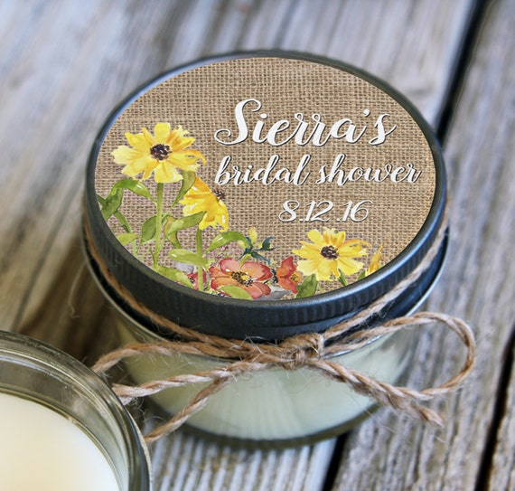 Set of 12 - 4 oz Soy Candle Bridal Shower Favors - Burlap and Sunflower Label Design - Rustic Bridal Shower Favors, Sunflower Wedding Favors