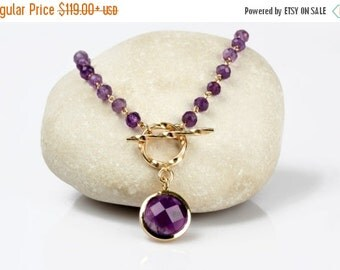 SUMMER SALE - Amethyst necklace,wire wrapped gold necklace,February birthstone necklace,purple beaded necklace