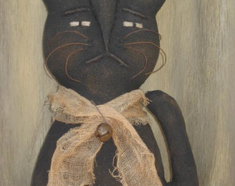 Prim Grungy Folk Art Halloween Kitty Cat with Sculpted Face