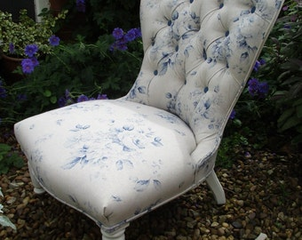 Antique Victorian Button Back Bedroom/Nursing Chair - Shabby Chic Roses